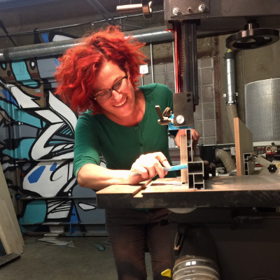 morning fix shesays boulder janet Hollingsworth cutting things in BLDG 61 makerspace